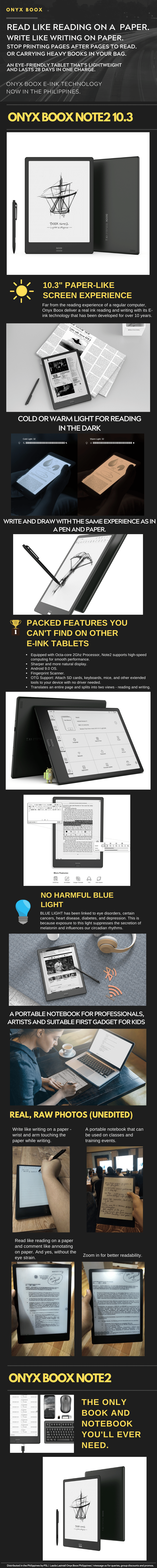 Onyx Boox Note2 10.3 info-graphics and Product Description and Photos by PSL