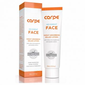 Packaging box and bottle of Carpe Face Antiperspirant No Sweat Face