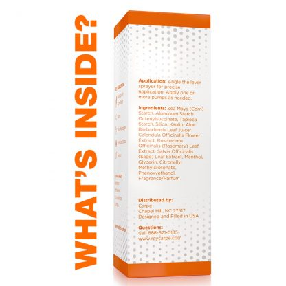 Carpe Groin Antiperspirant - No Sweat Groin Packaging and applicator ingredients, warnings, and indications