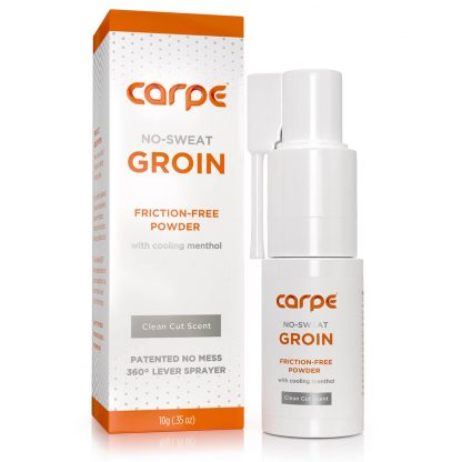 Carpe Groin Antiperspirant - No Sweat Groin Packaging and applicator