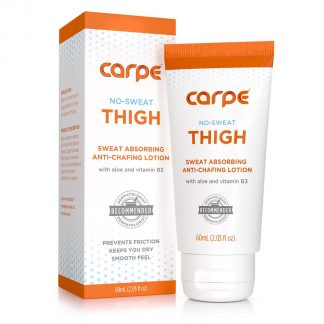 Packaging and bottle of Carpe Thigh Antiperspirant Carpe No Sweat Thigh
